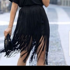 Zara fringe suede skirt Size M